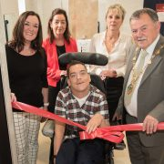 Orla McCann, Disability Action, Catherine Carlin, Disability Services, WHSCT, Linda Beckett, General Manager of Glen Caring, Jonathan Hagon, service user and the Mayor of Derry City and Strabane District Council, Councillor Maolíosa McHugh celebrate the new Glen Caring State-of-the-Art 'Changing Places' facility for people with severe mobility disabilities which has been officially opened in Ebrington Square, Derry/Londonderry. The facility has been developed and customised to cater for those with severe mobility issues – as standard disabled toilets simply don't meet their needs.
